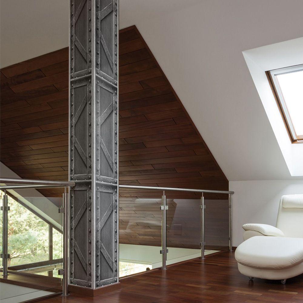 Koziel Trompe L Oeil lattice brushed steel beam wallpaper   flat